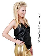 blond woman gold pants