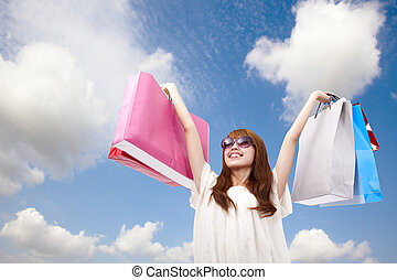fashion girl with shopping bag