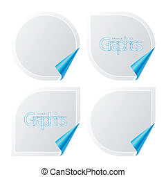 Stickers with curled corners