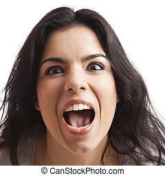 Crazy woman - Portrait of a young woman with a crazy...