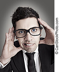 Nerd businessman - Funny portrait of a young businessman...