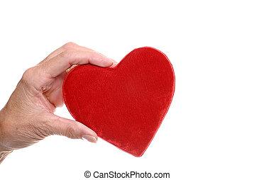 elderly woman hand holding  heart