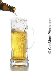 beer bottle and mug isolated on white