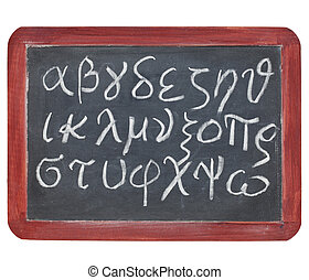 Greek alphabet on blackboard - Greek alphabet from alpha to...
