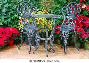 Double Patio Set with colorful flowers