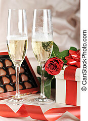 gift in box and champagne - gift in box, champagne and red...