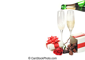 champagne and chocolate - beautiful red rose, champagne and...