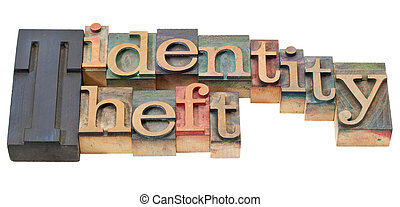 identity theft in letterpress type - identity theft -...