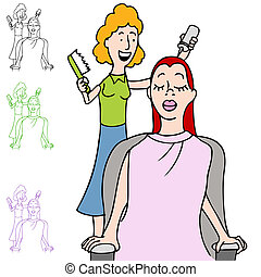 Hair Salon Coloring - An image of a woman in a hair salon...