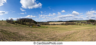 Spring panorama with countryside view