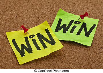 win-win strategy concept - handwriting on sticky notes...