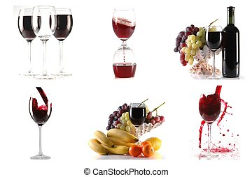 Wine and fruits on white background colage