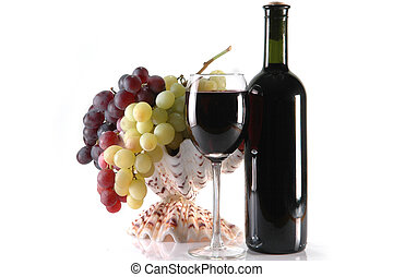 different grapes and glass of wine on whie - different...