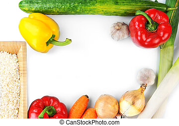different vegetables on white top view - vegetables on white...