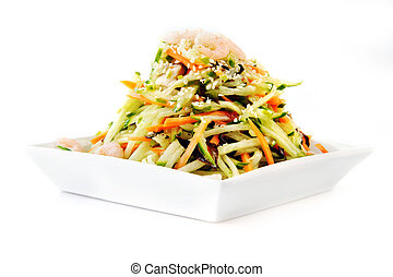 asian salad served on plate isolated on white - asian salad...