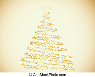 Golden Christmastree Made of Circles and Stars on a Gold...