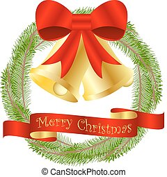 Christmas Wreath Background with Golden Bells