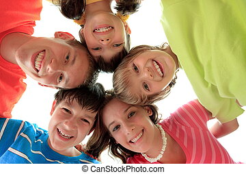 Happy smiling children - Happy smiling faces of a group of...