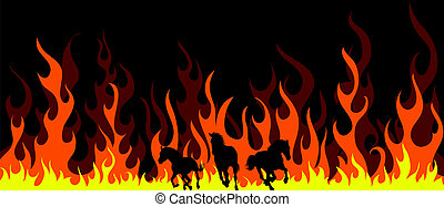 flame horses - Horse silhouettes with flame tongues Vector...