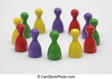 Board game pieces - symbol for teamwork