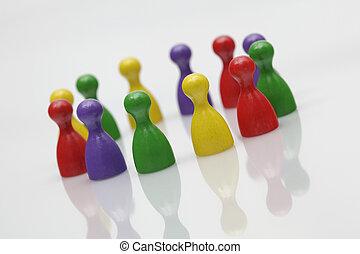 tabla, juego, pedazos, -, símbolo, trabajo en equipo