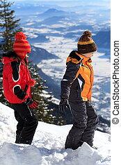Children on mountain slope