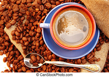 coffee beans cup with coffee and spoon - coffee beans cup...