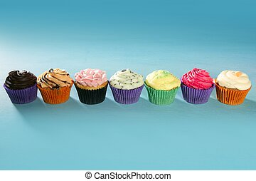 Cupcakes colorful cream muffin arrangement