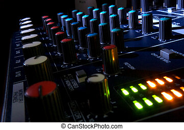 Mixing console at night Musical background