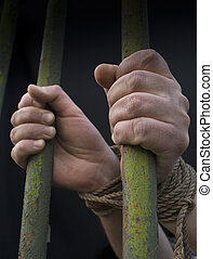 Hands behind the bars tied with rope