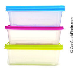 plastic containers - a pile of plastic containers on a white...