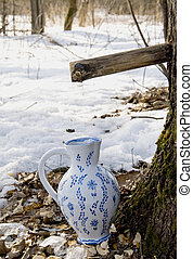 Collecting birch sap to ceramic pither - Birch sap drops in...