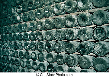 spanish cava bottles in a wine cellar - a lot of spanish...