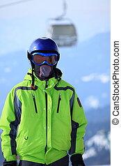 Boy wearing ski mask