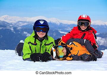 Happy children in Alps