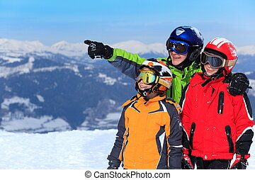 Happy children in Alps - Three happy children in ski...