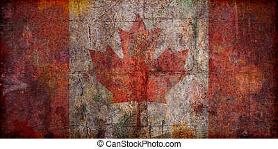 Grunge Canadian Flag - A grunge style, distressed, textured...