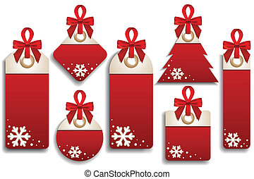 Winter Set of Sales Tags - Vector set of seven winter sales...