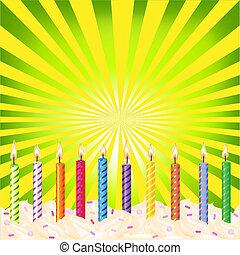 aniversário, velas, ligado, verde, fundo
