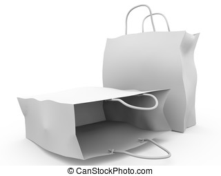 Two paper bags - Two Paper bags for shopping. 3d render