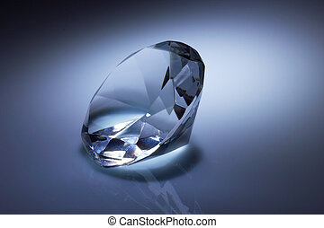 Diamond jewel on dark blue background