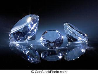 brillante, diamantes, joya, Oscuridad, azul