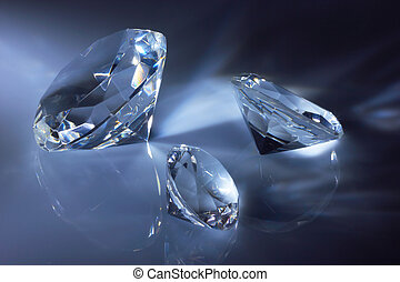brilhante, diamantes, jóia, escuro, azul