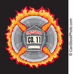 Firefighter Cross With Shield - Illustration of a black...