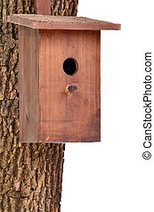 Wooden bird house (starling house) on a tree trunk against white background