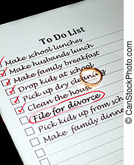 planning a divorce - A wifes to do list containing the item...