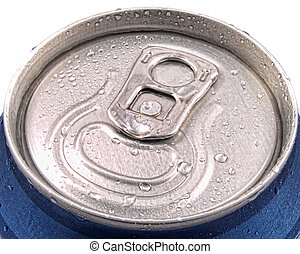ring pull and tin can lid wet with condensation