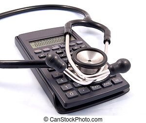 Medical accounting - Stephascope placed over a calculator...