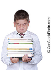 Boy holds heavy books on a white background