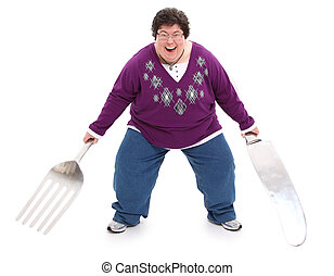 Woman with Giant Fork and Knife Clipping Path - Humor image...